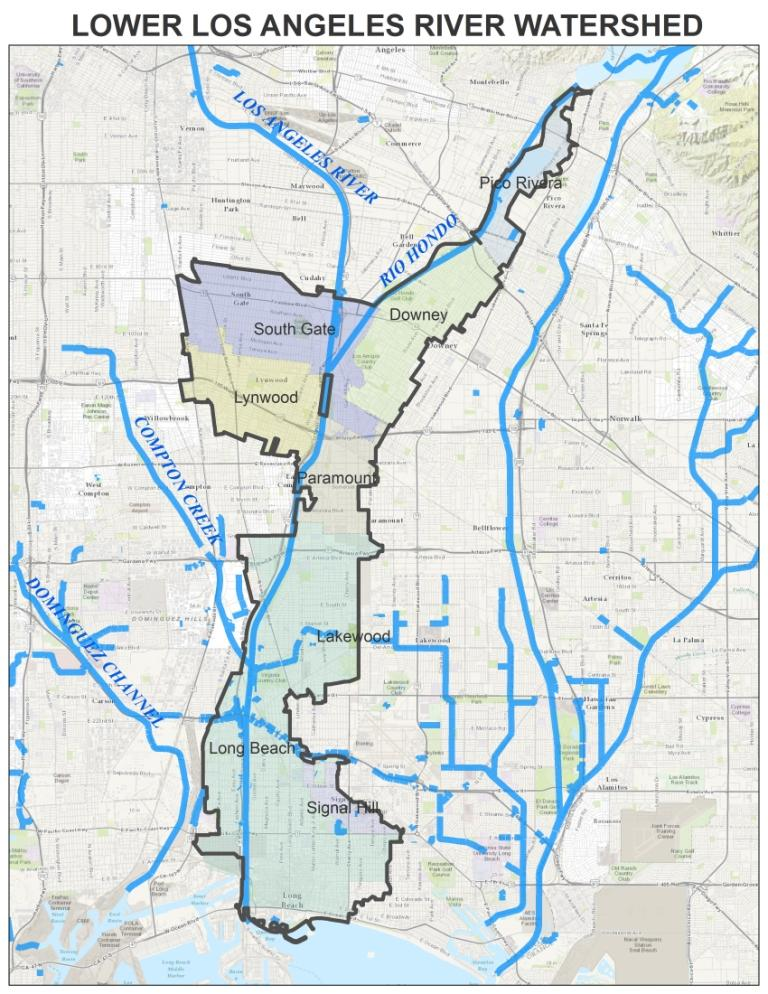 Lower Los Angeles River LLAR GWMA Gateway Water Management - Los angeles river map